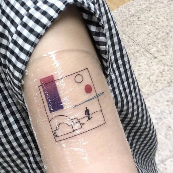 geometric small star wars tattoo