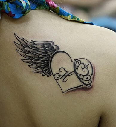 Winged Heart tattoo for women