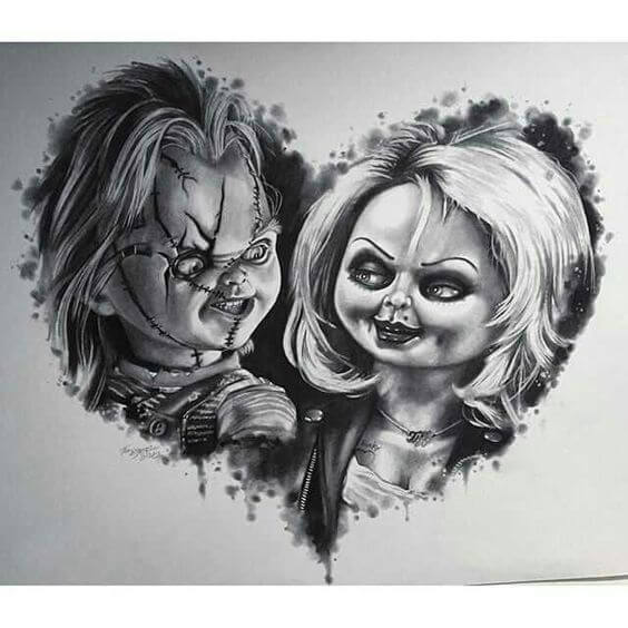 chucky and his bride tattoo