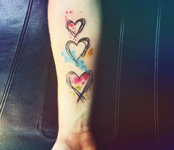 creative Watercolor Heart tattoo