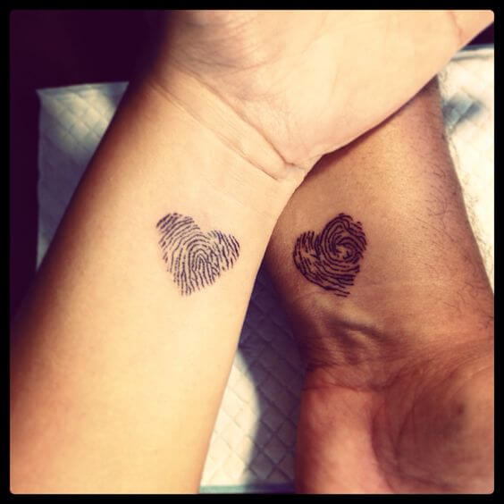 match fingerprint Heart tattoo