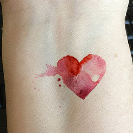 red Watercolor Heart tattoo