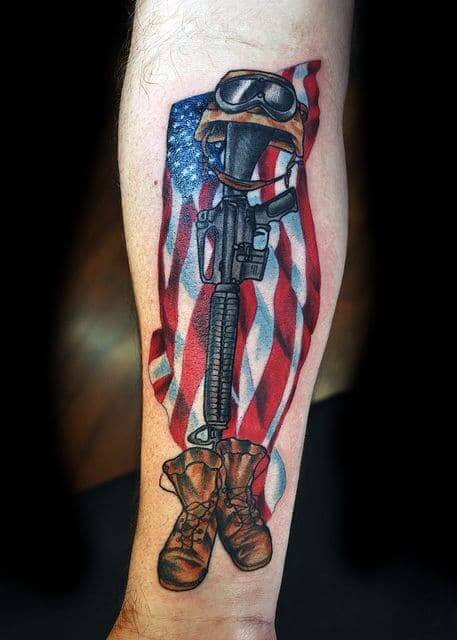 American Flag Gun tattoo