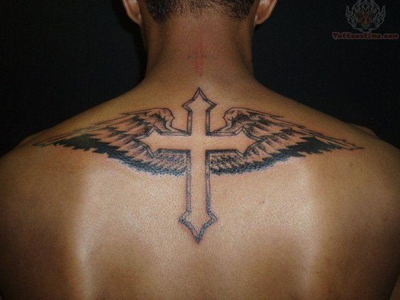 Angel wings cross tattoo for men