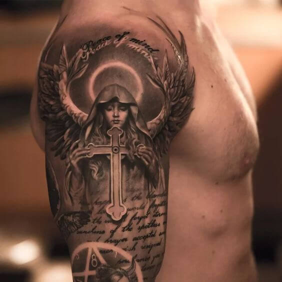 Guardian angel tattoo for men