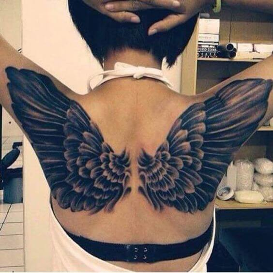 angel wing tattoo on back