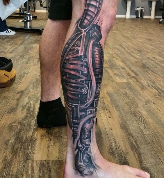 biomechanical tattoo leg