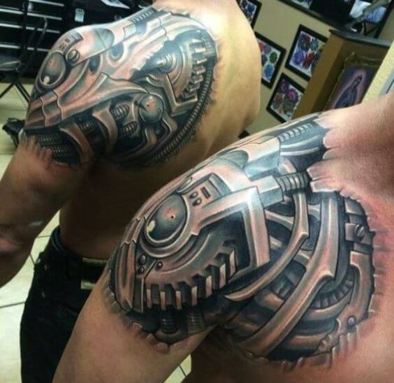 biomechanical tattoo shoulder