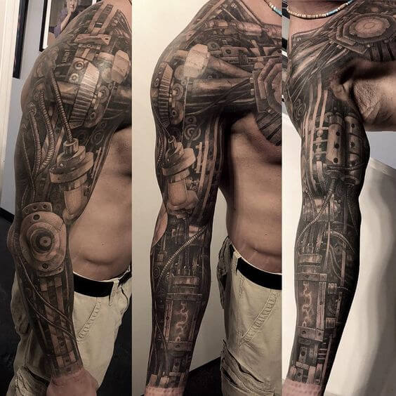 biomechanical tattoo sleeve