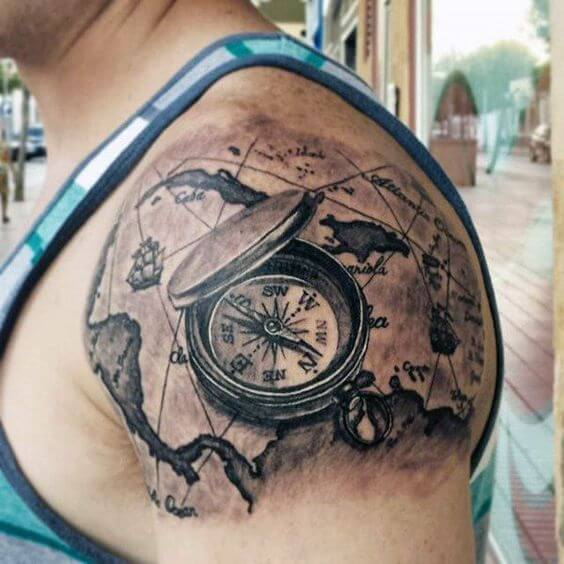 compass tattoo shoulder
