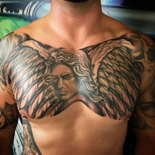 guardian angel tattoo chest