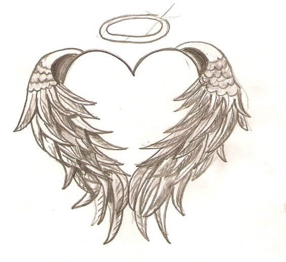 heart with angel wings tattoo design