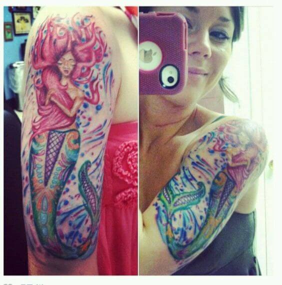 mermaid half sleeve tattoos for women