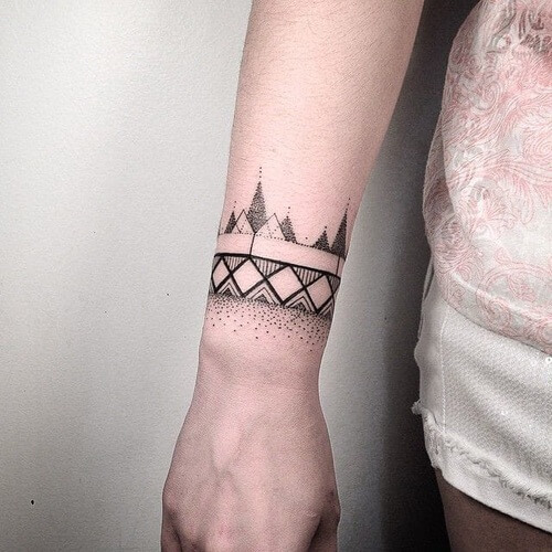 Geometric armband tattoo