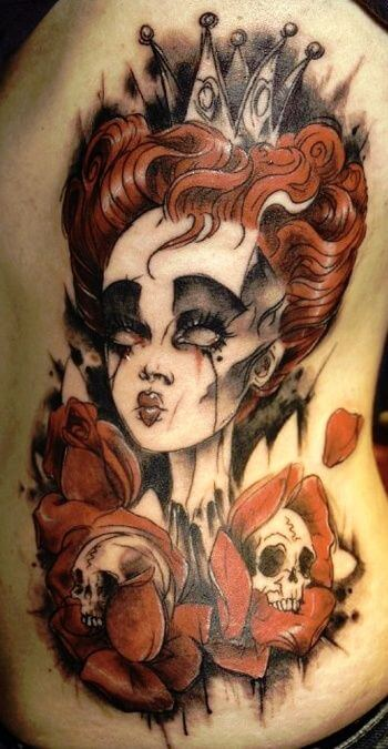 alice and wonderland tattoo with red queen