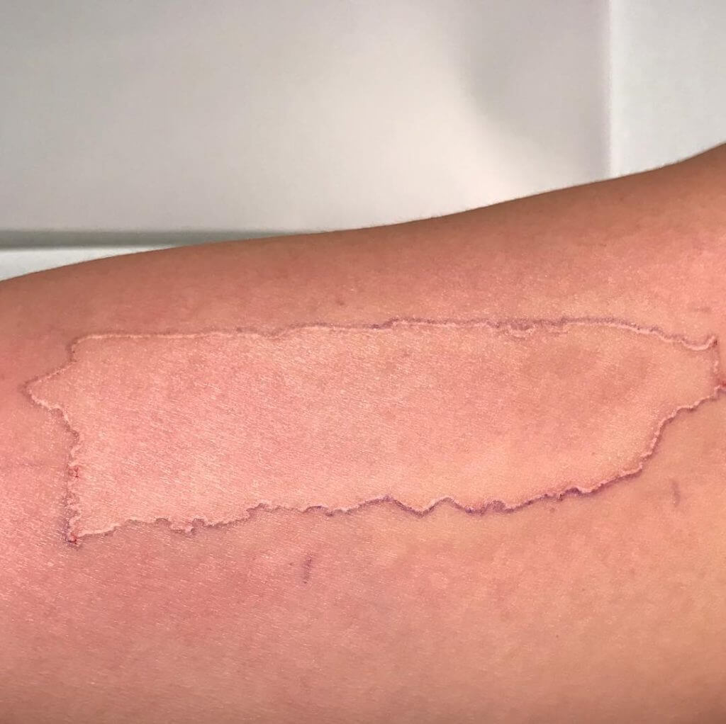 Puerto Rico Map white tatoo