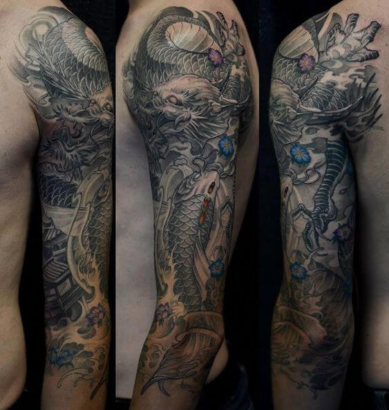 black dragon tattoo arm tat