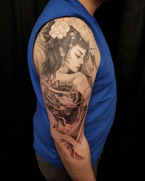 geisha dragon tattoo
