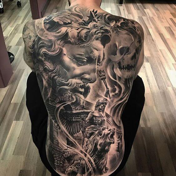realistic full back tattoo