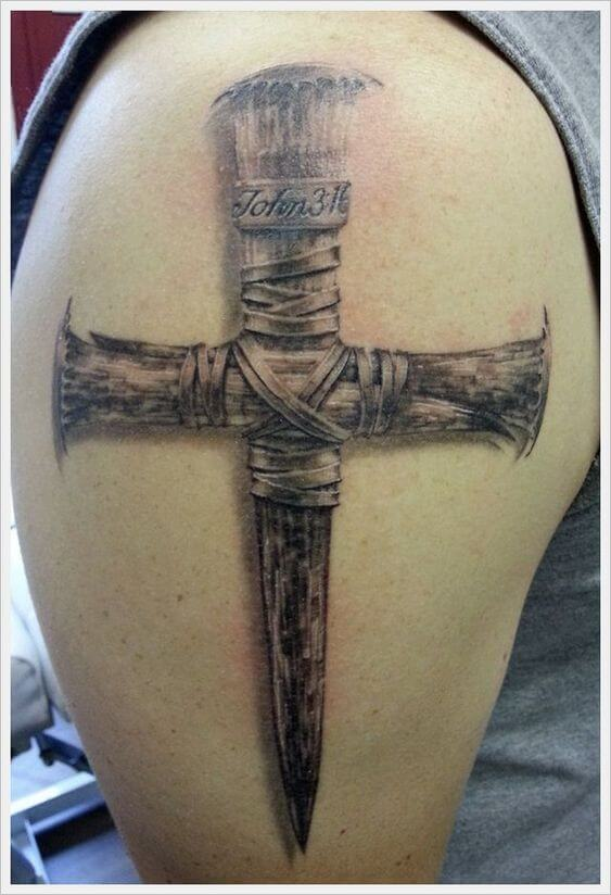 wooden cross tattoo for men