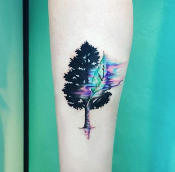 Colorful oak tree tattoo