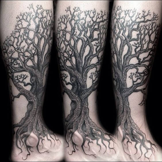 Oaktree with roots tattoo