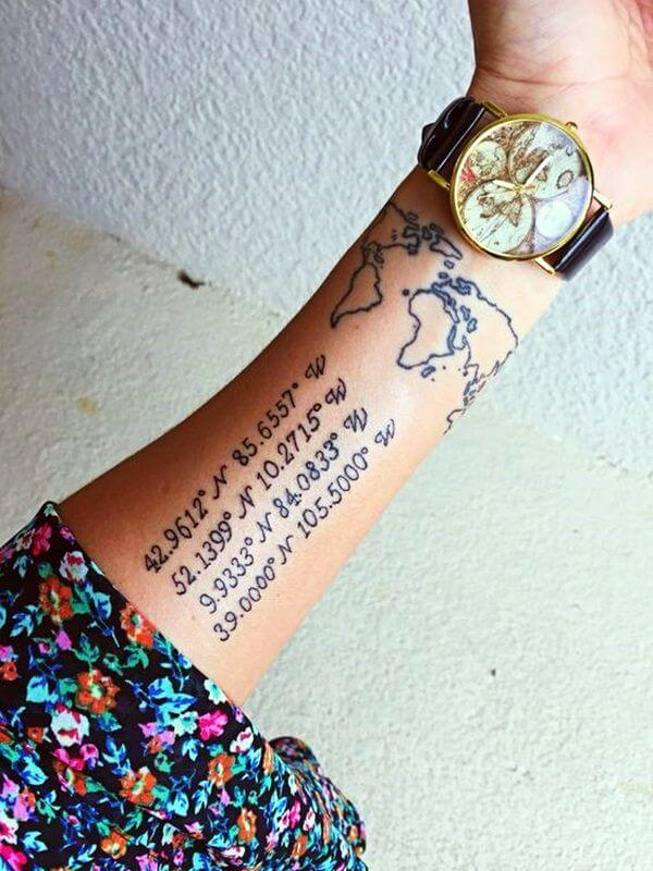 15 Ideas for a Coordinates Tattoo That You Would Love On Your Body 2