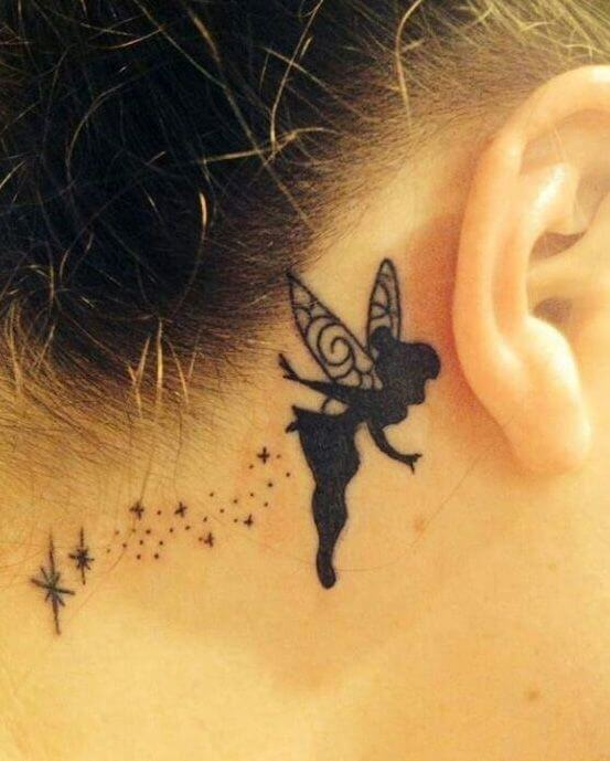 Fairy tattoo behind the ear