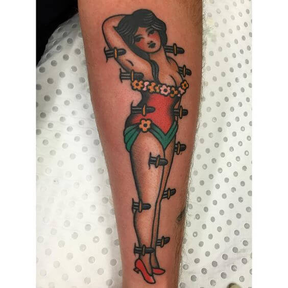 Magician's assistant pin up tattoo