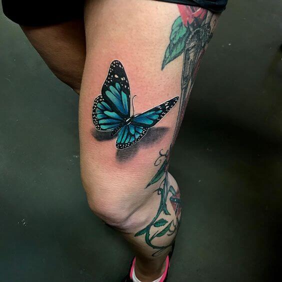 blue butterflies tattoo