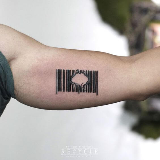 broken barcode tattoo