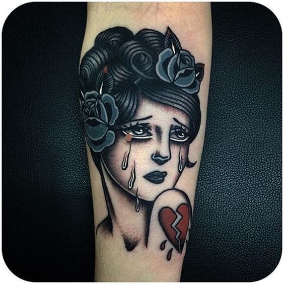 broken heart pin up tattoo