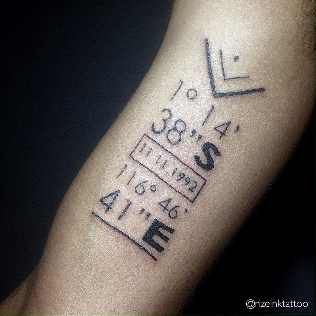 15 Ideas for a Coordinates Tattoo That You Would Love On Your Body 32