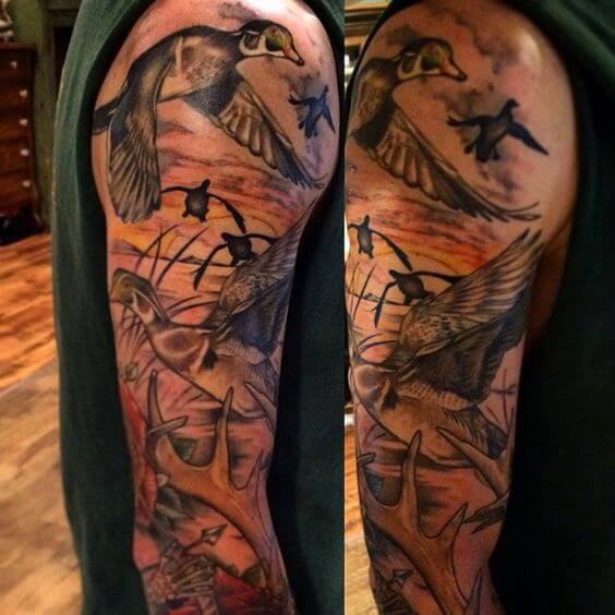 sleeve Duck Hunting Tattoo