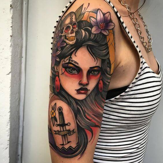 sleeve pin up girl tattoo sleeve