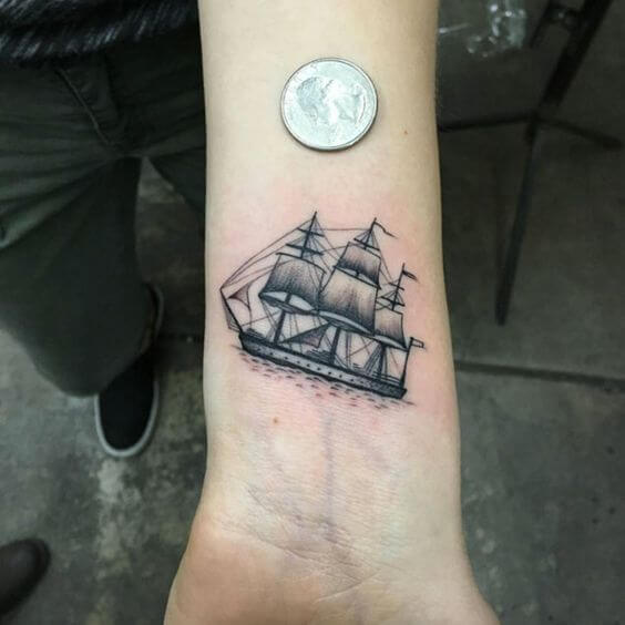 small ship tattoo