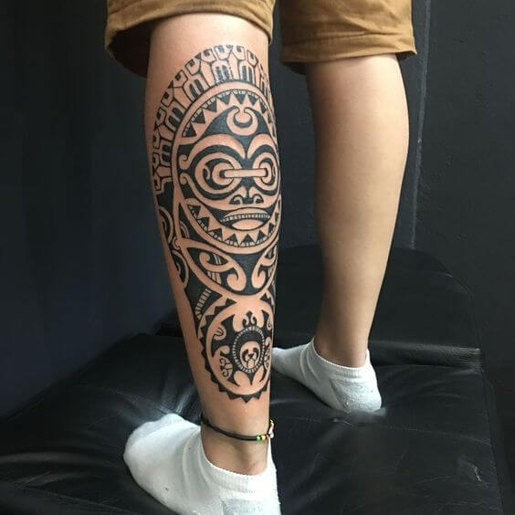 traditional Hawaiian tattoos on leg