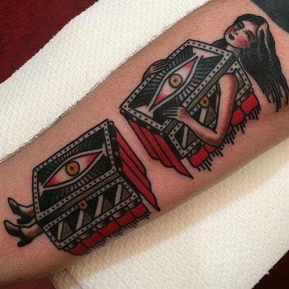 traditional Magician's assistant tattoo
