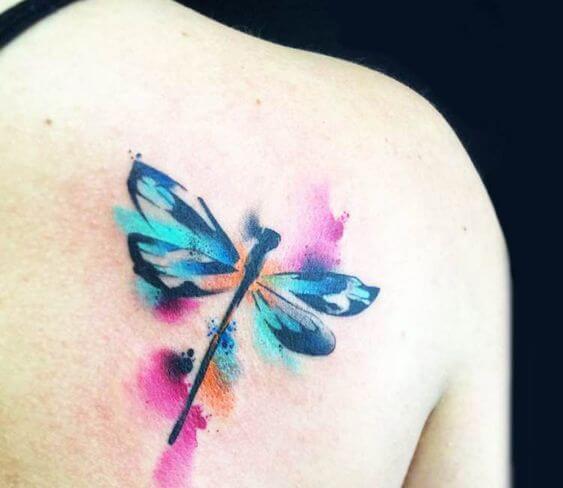 watercolor dragonflies tattoo