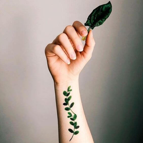 Botanical Green Leafs Tattoo