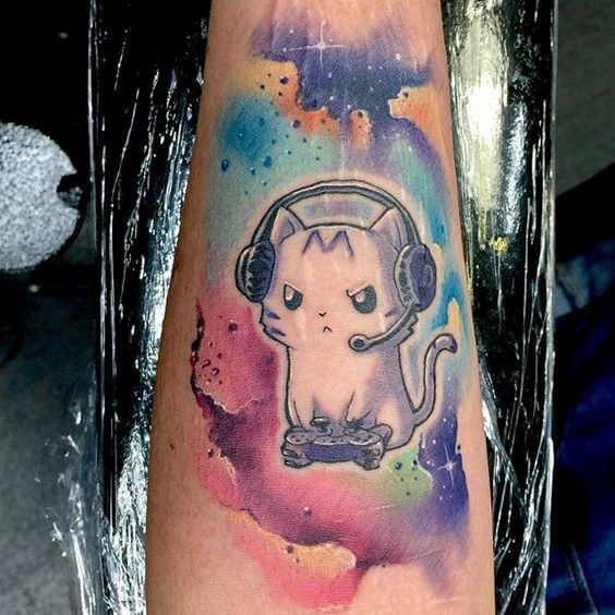Cute Galaxy Cat Tattoo