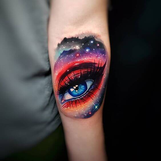 Eye Water Colour Galaxy Tattoo