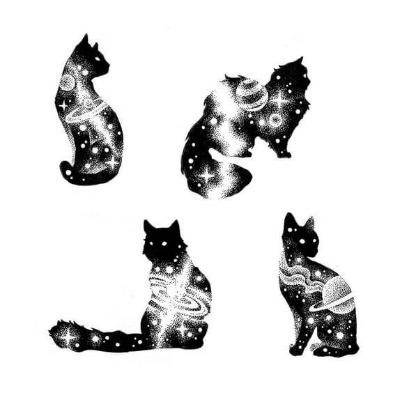 Galaxy Cat Tattoo Design