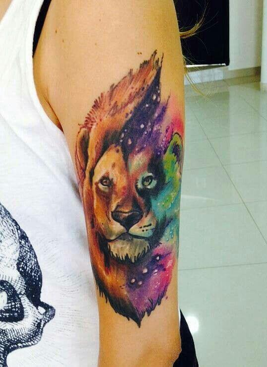 Galaxy Lion Tattoo For Men