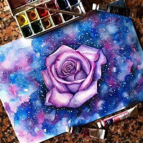 Galaxy Rose Tattoo Design