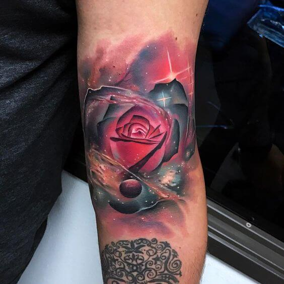 Galaxy Rose Tattoo For Women