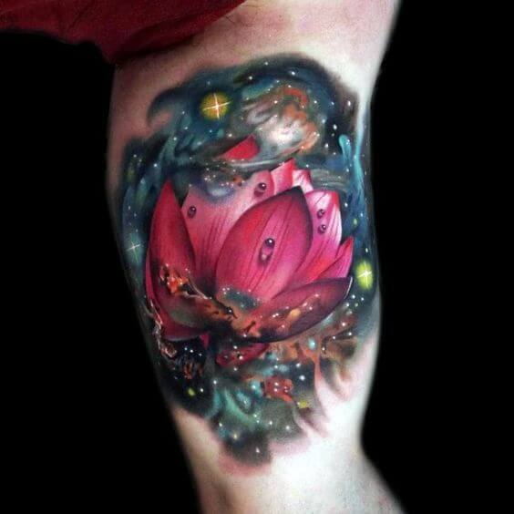 Lotus Galaxy Flower Tattoo