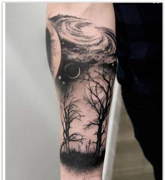 Trees and Galaxy Tattoo Black And White