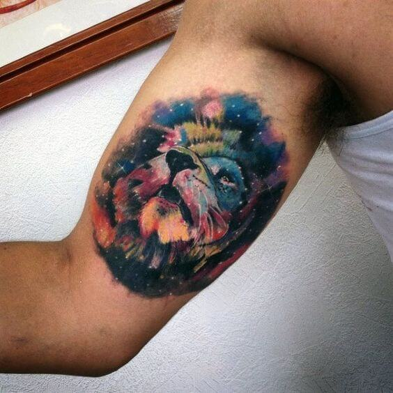 Watercolor Galaxy Lion Tattoo