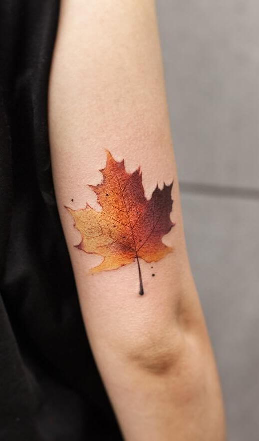 autumn leaf tattoo